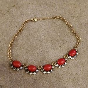 Stella & Dot Mae red crystal statement necklace